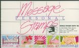 NZ Booklet SGSB47 $2 Personal Message Stamps Booklet containing SG1455a overprinted World Stamp Expo